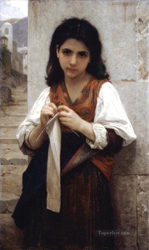 Tricoteuse 1879 Realism William Adolphe Bouguereau Oil Paintings