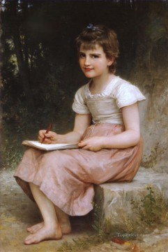 Une vocation 1896 Realism William Adolphe Bouguereau Oil Paintings