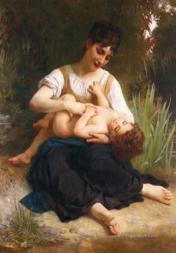 Adolphe Juene Fille Et Enfant MiCorps Realism William Adolphe Bouguereau Oil Paintings