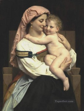Femme de Cervara et Son Enfant 1861 Realism William Adolphe Bouguereau Oil Paintings