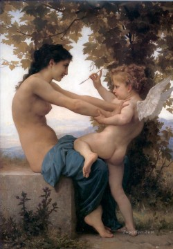 Jeune fille se defendant contre lamour William Adolphe Bouguereau Oil Paintings