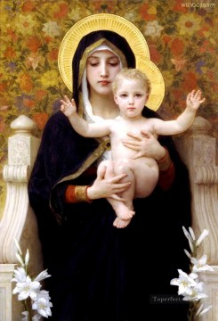 William Adolphe Bouguereau Painting - La Vierge au lys Realism William Adolphe Bouguereau