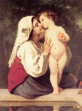 Le Baiser 1863 Realism William Adolphe Bouguereau Oil Paintings