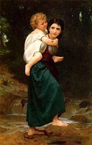 Le Passage du gue Realism William Adolphe Bouguereau Oil Paintings
