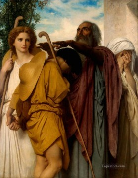 by Works - Tobias Saying Goodbye to his Father 1860 Realism William Adolphe Bouguereau