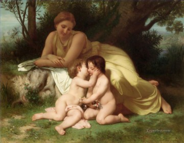 Young Woman Contemplating Two Embracing Children Realism William Adolphe Bouguereau Oil Paintings