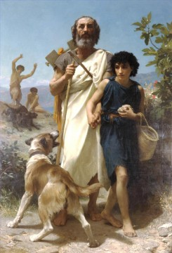 Homere et son guide Realism William Adolphe Bouguereau Oil Paintings