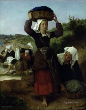 Washerwomen of Fouesnant 1869 Realism William Adolphe Bouguereau Oil Paintings