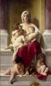 William Adolphe Bouguereau Painting - La charite Realism William Adolphe Bouguereau