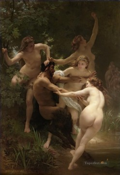 William Adolphe Bouguereau Painting - Nymphes et satyre William Adolphe Bouguereau