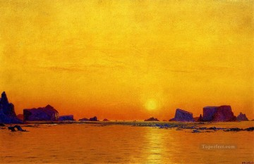 Sun Oil Painting - Ice Floes under the Midnight Sun seascape William Bradford