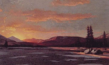 Sun Oil Painting - Winter Sunset seascape William Bradford