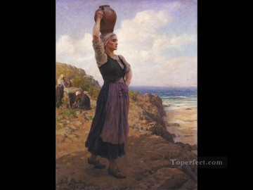 on - A la fontaine countryside Realist Jules Breton
