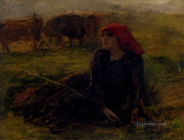 on canvas - Adolphe Aime Louis Bergere Dans Un Pre countryside Realist Jules Breton