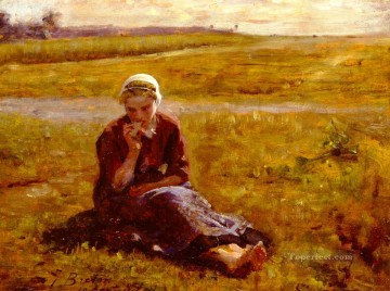 Jules Art Painting - Afternoon Repast countryside Realist Jules Breton