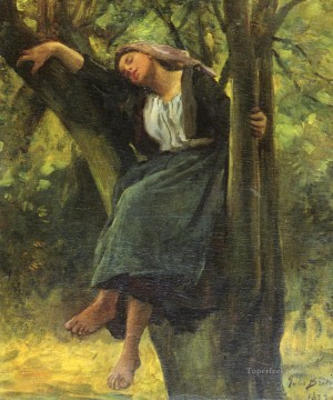 sleep Painting - French 1827Asleep In The Woods countryside Realist Jules Breton