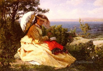 on canvas - La Femme A Lmbrelle countryside Realist Jules Breton