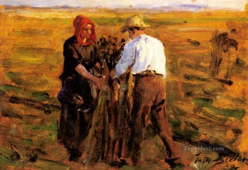 on canvas - Mise En Tas Des Oeillettes countryside Realist Jules Breton