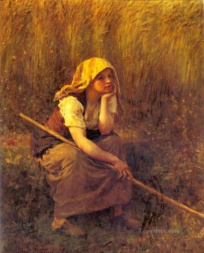 on - Summer countryside Realist Jules Breton