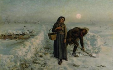 on canvas - Sur la Route en Hiver Artois countryside Realist Jules Breton