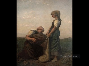Jules Breton Painting - The Potato Harvest countryside Realist Jules Breton
