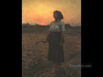 Jules Breton Painting - The Song of the Lark countryside Realist Jules Breton
