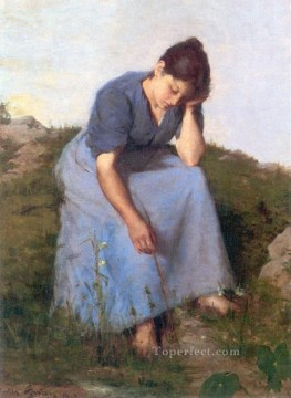 young Art - Young Woman in a Field countryside Realist Jules Breton