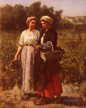 Jules Art Painting - Les Vendanges A ChateauLagrange countryside Realist Jules Breton