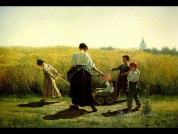 Jules Art Painting - The Departure for the Fields countryside Realist Jules Breton