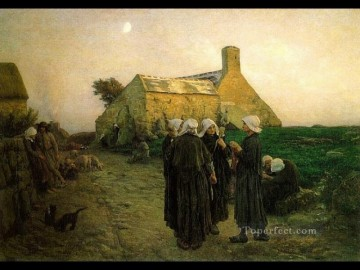 Jules Breton Painting - Evening in the Hamlet of Finistere countryside Realist Jules Breton