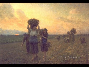 Jules Breton Painting - The Last Gleanings countryside Realist Jules Breton