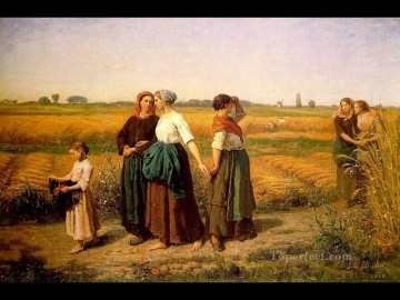 Jules Breton Painting - The Reapers countryside Realist Jules Breton