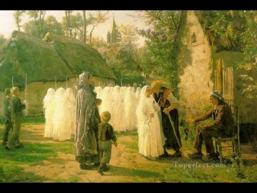 Jules Breton Painting - The Communicants countryside Realist Jules Breton