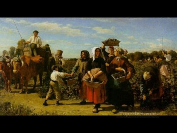 Jules Breton Painting - The Vintage at Chateau Lagrange countryside Realist Jules Breton