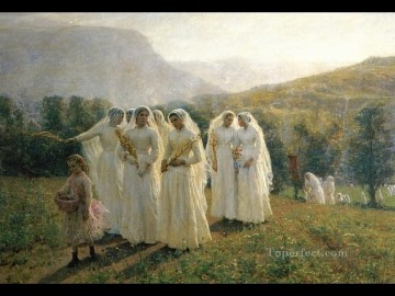 Jules Breton Painting - Young Women Going to a Procession countryside Realist Jules Breton