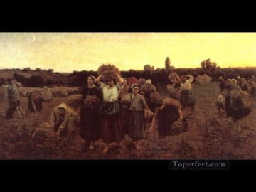 Jules Breton Painting - The Recall of the Gleaners countryside Realist Jules Breton