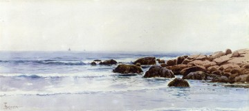 Coast Painting - Sailboats off a Rocky Coast beachside Alfred Thompson Bricher