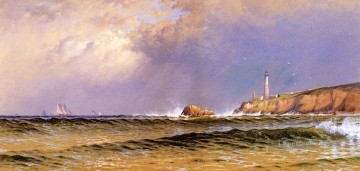Coast Painting - Coastal Scene with Lighthouse beachside Alfred Thompson Bricher