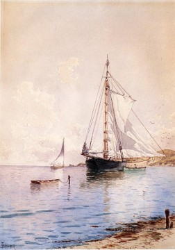 Alfred Thompson Bricher Painting - Drying the Main at Anchor beachside Alfred Thompson Bricher