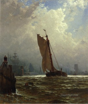 new orleans Painting - New York Harbor with the Brooklyn Bridge Under Construction Alfred Thompson Bricher