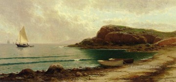 Alfred Thompson Bricher Painting - Seascape with Dories and Sailboats beachside Alfred Thompson Bricher