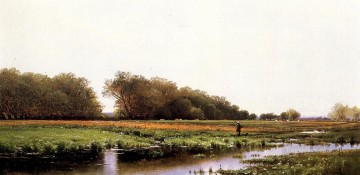 Alfred Thompson Bricher Painting - Hunter in the Meadows of Old Newburyport Massachusetts Alfred Thompson Bricher