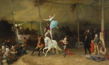 UN CIRQUE EN PROVINCE THE AMERICAN CIRCUS IN FRANCE Frederick Arthur Bridgman Oil Paintings