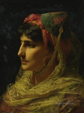 Frederick Arthur Bridgman Painting - PORTRAIT OF A WOMAN Frederick Arthur Bridgman