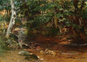 stream Painting - THE STREAM AT DIVONNE Frederick Arthur Bridgman