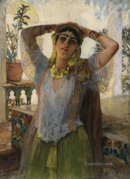 Frederick Arthur Bridgman Painting - YOUNG ORIENTAL WOMAN ON A TERRACE Frederick Arthur Bridgman