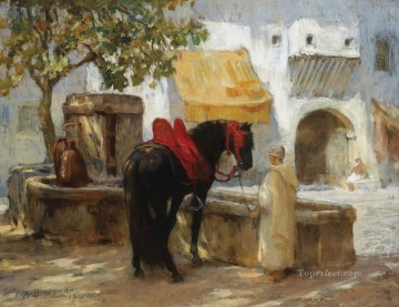 CHEVAL A LA FONTAINE Frederick Arthur Bridgman Oil Paintings