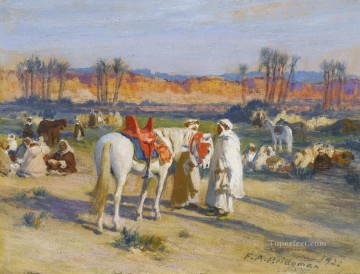 Frederick Arthur Bridgman Painting - HALT IN THE DESERT Frederick Arthur Bridgman