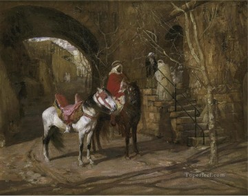 HORSEMAN IN A COURTYARD Frederick Arthur Bridgman Oil Paintings