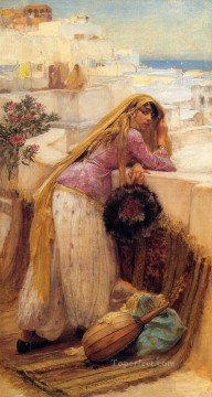Frederick Arthur Bridgman Painting - On the Terrace Frederick Arthur Bridgman